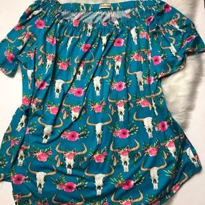 Southern Stitch Cowhead off the shoulder top XXL